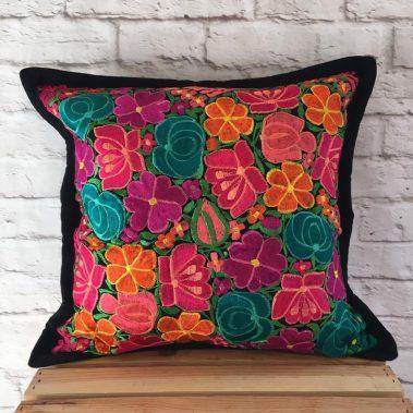 black-pillow-cover-multi-flower